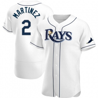 Men's Michael Martinez Tampa Bay White Authentic Home Baseball Jersey (Unsigned No Brands/Logos)